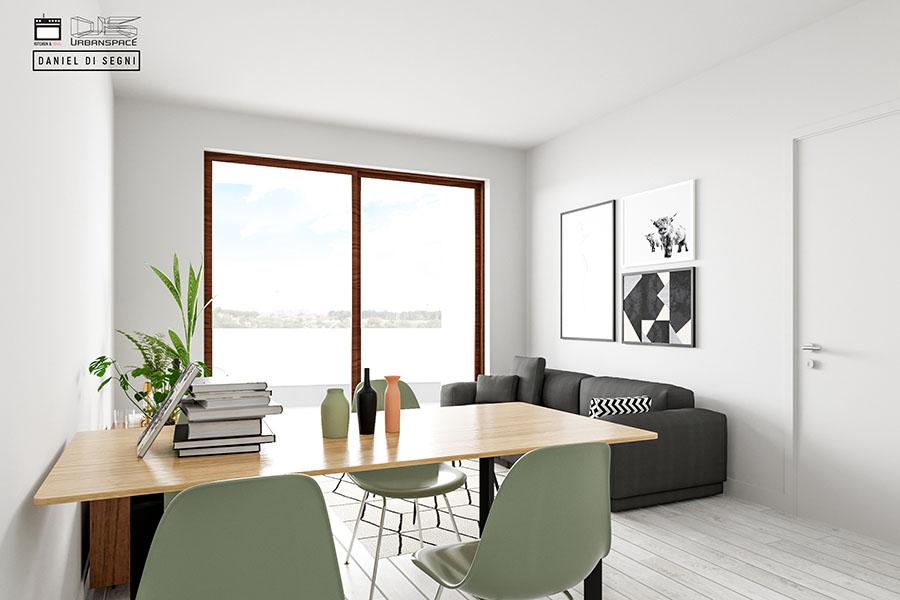 Il living in perfetto stile scandinavo a collina delle for Piani di casa in stile country di collina